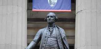 A statue of President George Washington outside of Federal Hall in Manhattan