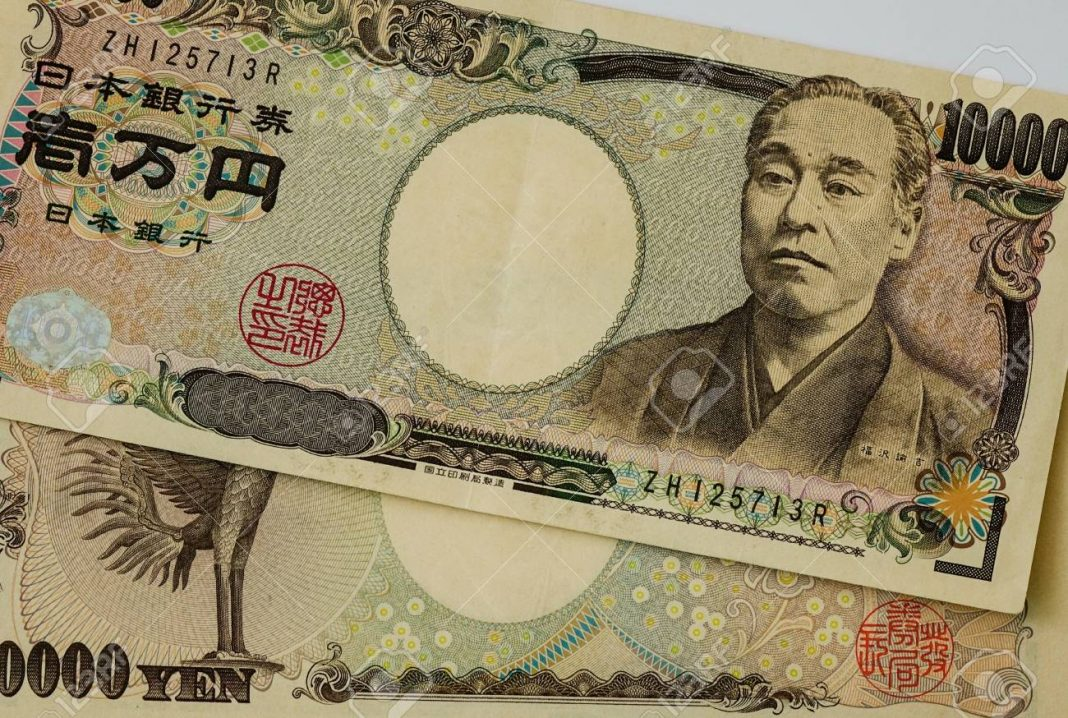 Portrait on the Japanese yen (JPY). Money banknotes for design - close up.