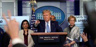 President Donald Trump speaks during a press briefing with the coronavirus task force, in the Brady press briefing room at the White House.