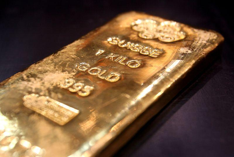 A one kilo gold bar is displayed in a shop in Dubai's gold souk