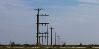 """Electric power lines run through the """"Uppards,"""" part of Tangier Island, Virginia, U.S."""