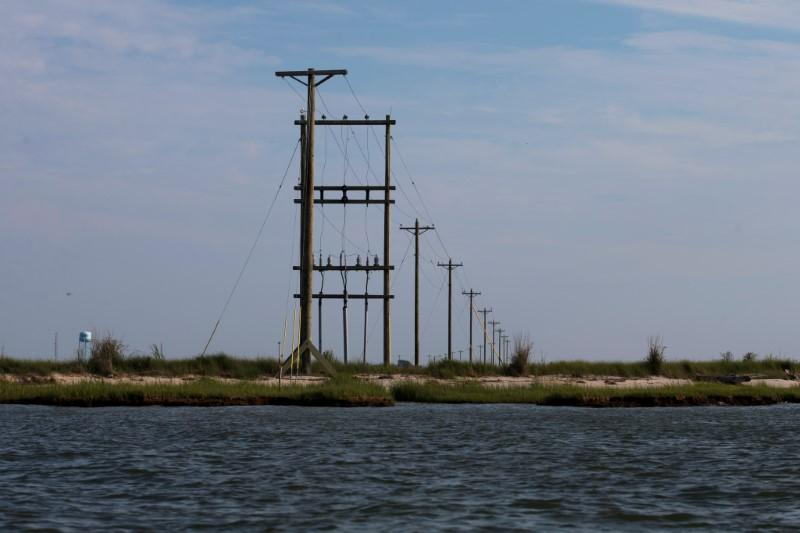Electric power lines run through the