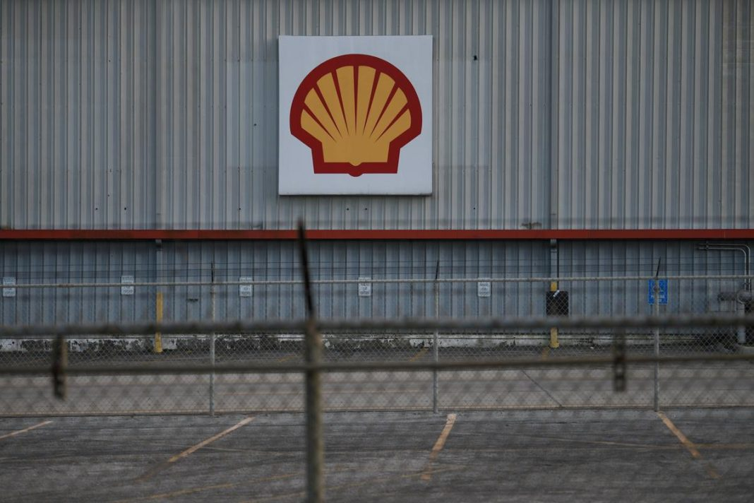 A sign is seen at a Shell facility near the Houston Ship Channel in Galena Park, Texas, U.S.