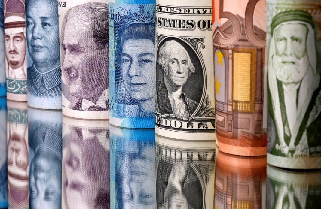 Saudi riyal, yuan, Turkish lira, pound, U.S. dollar, euro and Jordanian dinar banknotes are seen in this illustration taken January 6, 2020.