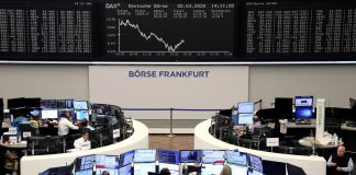 The German share price index DAX graph is pictured at the stock exchange in Frankfurt, Germany, February March 2, 2020.