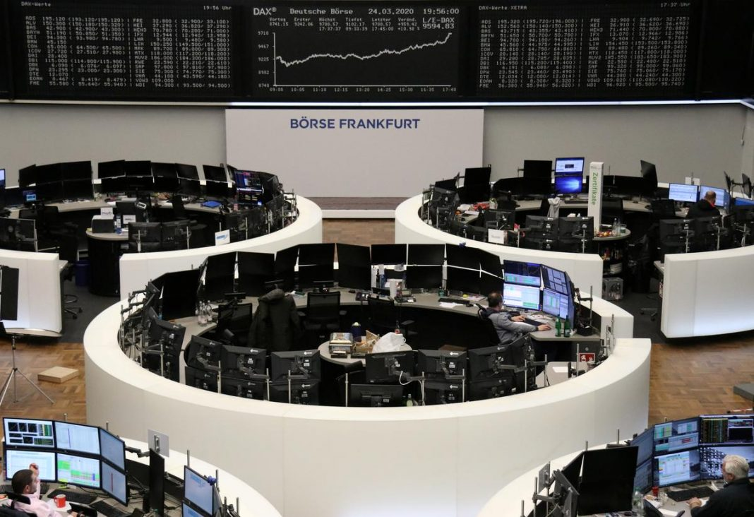 The German share price index DAX graph is pictured at the stock exchange in Frankfurt, Germany