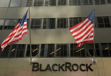 A sign for BlackRock Inc hangs above their building in New York U.S.