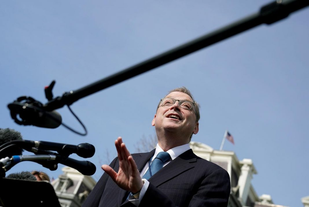 Council of Economic Advisers Chairman Kevin Hassett speaks to reporters at the White House in Washington, U.S.