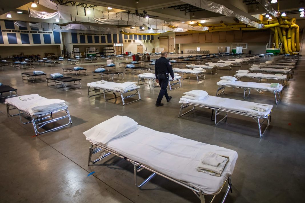 A temporary hospital which is been settled up by members of the California National Guard is seen in Indio, California on March 29, 2020.