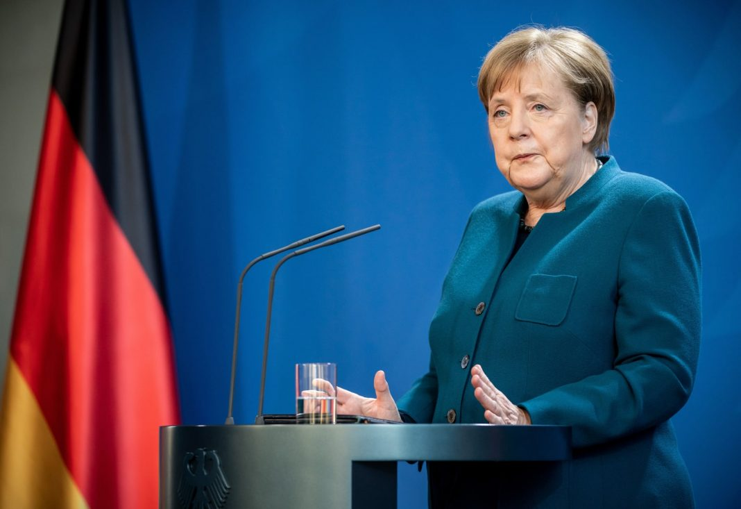 German Chancellor Angela Merkel makes a press statement on the spread of the new coronavirus COVID-19 at the Chancellery, in Berlin