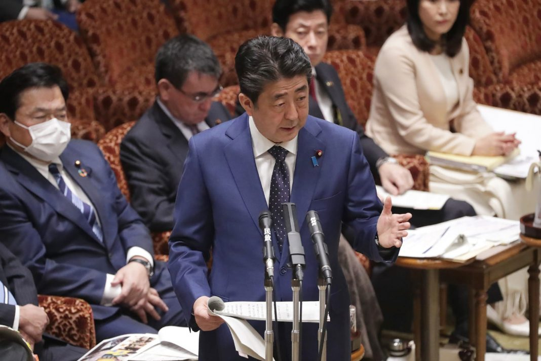 Japanese Prime Minister Shinzo Abe addresses Parliament in Tokyo