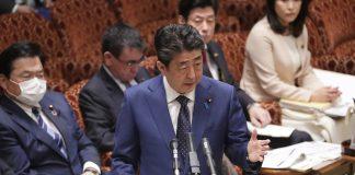 Japanese Prime Minister Shinzo Abe addresses Parliament in Tokyo