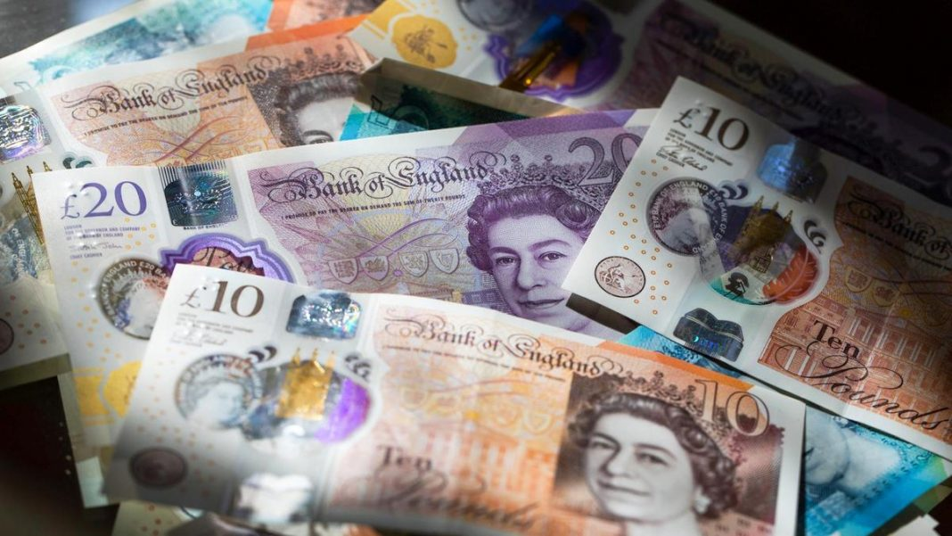 Sterling fell 1% on Friday after a record slump among Britain's services and manufacturing firms deepened in late March as businesses and households paused activity to prevent the spread of the coronavirus.