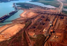 Ships waiting to be loaded with iron ore can be seen at Port Hedland in the Pilbara region of Western Australia