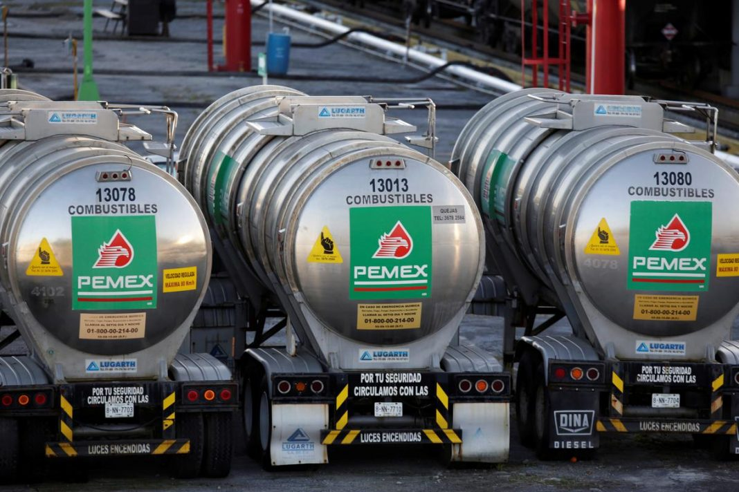 Tanker trucks of Mexico state oil firm Pemex's are seen at Cadereyta refinery in Cadereyta, on the outskirts of Monterrey, Mexico