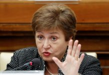 IMF Managing Director Kristalina Georgieva speaks during a conference hosted by the Vatican on economic solidarity, at the Vatican