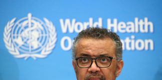 Director-General of the WHO Tedros Adhanom Ghebreyesus, attends a news conference on the coronavirus (COVID-2019) in Geneva, Switzerland