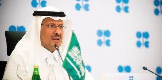 Saudi Arabia's Minister of Energy Prince Abdulaziz bin Salman Al-Saud speaks via video link during a virtual emergency meeting of OPEC and non-OPEC countries, following the outbreak of the coronavirus disease (COVID-19), in Riyadh, Saudi Arabia April 9, 2020. Picture taken