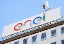 A logo of Italian multinational energy company Enel is seen at the Milan's headquarter, Italy