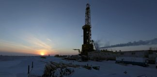 A view shows an oil derrick at Vankorskoye oil field owned by Rosneft company north of the Russian Siberian city of Krasnoyarsk