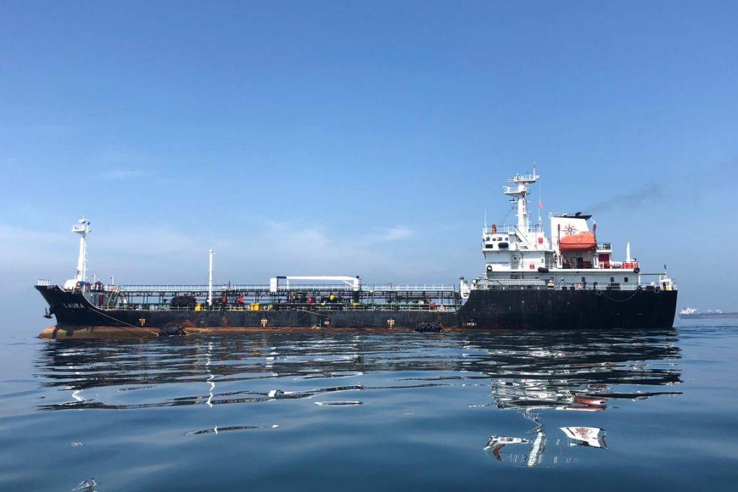 An oil tanker is seen in the sea outside the Puerto La Cruz oil refinery in Puerto La Cruz, Venezuela July