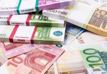 Lots of cash money. Euros. euro money banknotes. Money Euro background